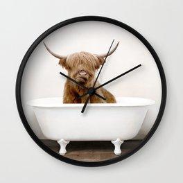 Highland Cow in a Vintage Bathtub (c) Wall Clock
