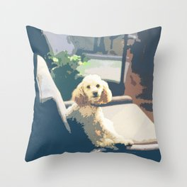 A Poodle Dog Sitting On Sofa Throw Pillow