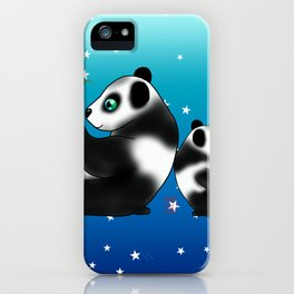 Two pandas eating bamboo on a blue background with stars iPhone Case