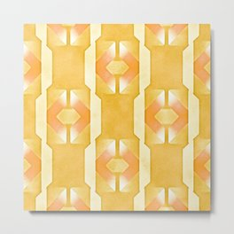 Art Deco Airbrush Abstract in Yellow Gold Metal Print