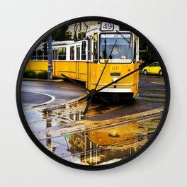 Yellow Budapest Tram Wall Clock