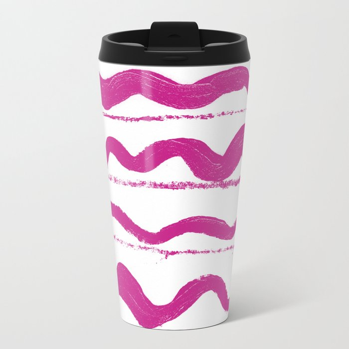Simply hand painted pink stripes on white background 1-Mix and Match Metal Travel Mug