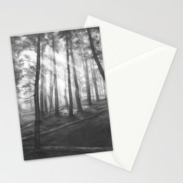 """""""Soothing Place"""" - pencil drawing of the dark forest Stationery Cards"""
