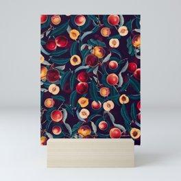Nectarine and Leaf pattern Mini Art Print