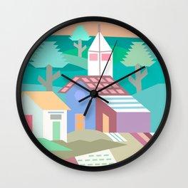 Pastel Andean Village Patchwork Wall Clock