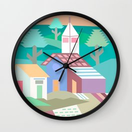 Pastel Andean Village Patchwork Wall Clock