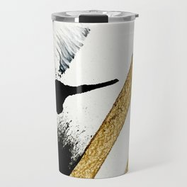 Armor [8]: a minimal abstract piece in black white and gold by Alyssa Hamilton Art Travel Mug