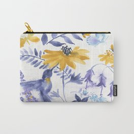 Blue and Yellow Garden Snippets Carry-All Pouch