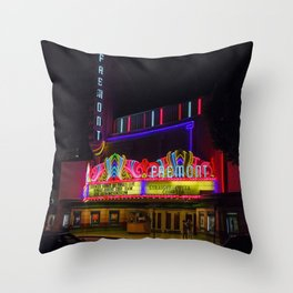 Night Lights Fremont Theater, San Luis Obispo, California Throw Pillow