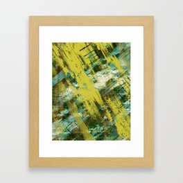 Hidden Meaning - Abstract, oil painting in yellow, green, blue, white and brown Framed Art Print