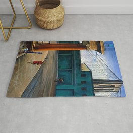 Classical Masterpiece 'South Street Sloop' by O. Louis Guglielmi Rug