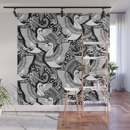 Stylish Swans in Monochrome Black and White Wall Mural
