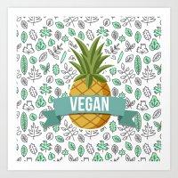 vegan Art Prints featuring Vegan by akaink