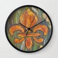 fleur de lis Wall Clocks featuring Fleur De Lis by Crystal Nero