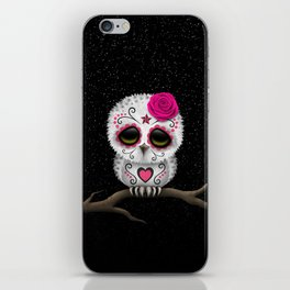 Adorable Pink Day of the Dead Sugar Skull Owl iPhone Skin