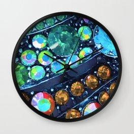 Blue, Green and Gold Jewels Art Design Wall Clock