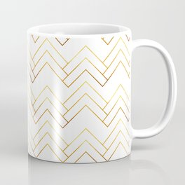 Art Deco Chevron Lines Bg White Coffee Mug