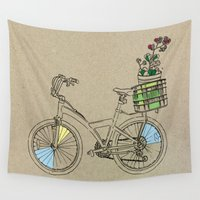 bicycle Wall Tapestries featuring Bicycle by Madmi