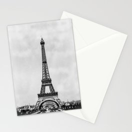Eiffel tower, Paris France in black and white with painterly effect Stationery Cards