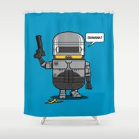 law Shower Curtains featuring Despicable Law Enforcer by pigboom el crapo