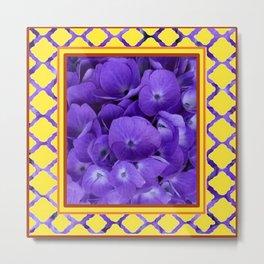 Interior Design Purple Floral Yellow Lattice Metal Print