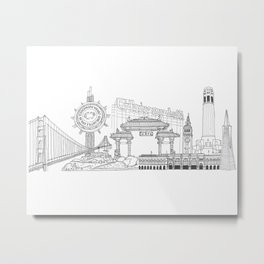 San Francisco by the Downtown Doodler Metal Print