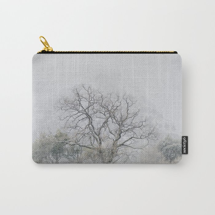 """""""King of the Mountain"""". Foggy and snowy mountain. Carry-All Pouch"""