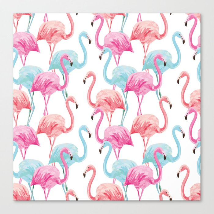 flamingo pink and blue watercolor seamless pattern Canvas Print