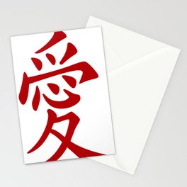 Red Ink Chinese Love Tattoo Stationery Cards