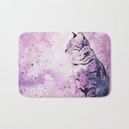 Pink Watercolor Cat Painting Bath Mat