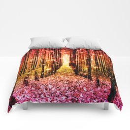 Magical Forest Sunset Pink Comforters