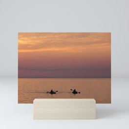 Sunset over the lake Mini Art Print