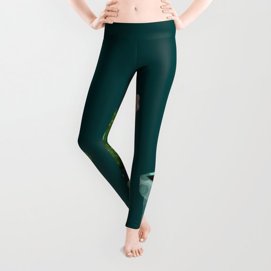 Three Cacti With Flowers On Green Background Leggings