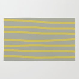 Simply Drawn Stripes in Mod Yellow Retro Gray Rug