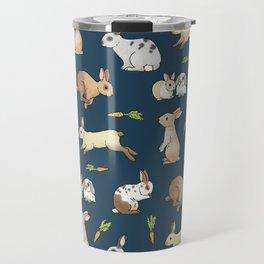 Rabbits on navy background Travel Mug