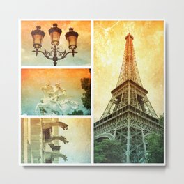 Drama of Paris Collage Metal Print