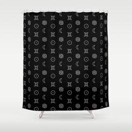 Gemini/Cancer + Sun/Moon Zodiac Glyphs Shower Curtain
