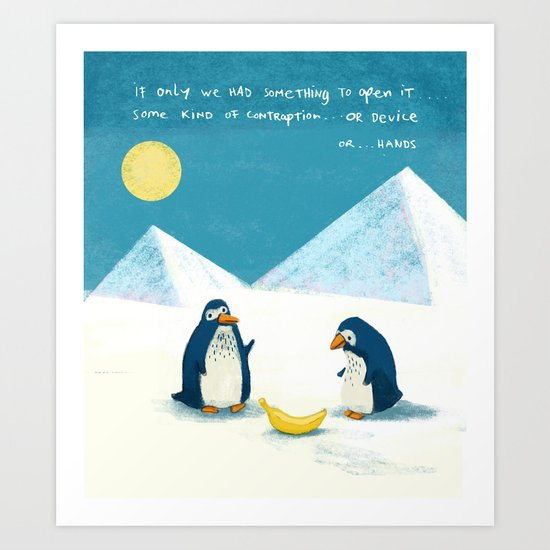 Penguins and bananas Art Print