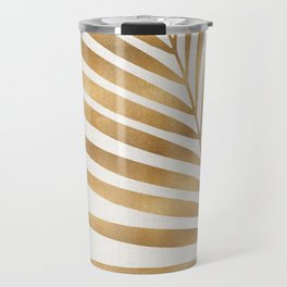 Metallic Gold Palm Leaf Travel Mug