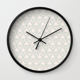 Elegant ivory pastel green lace romantic heart pattern Wall Clock