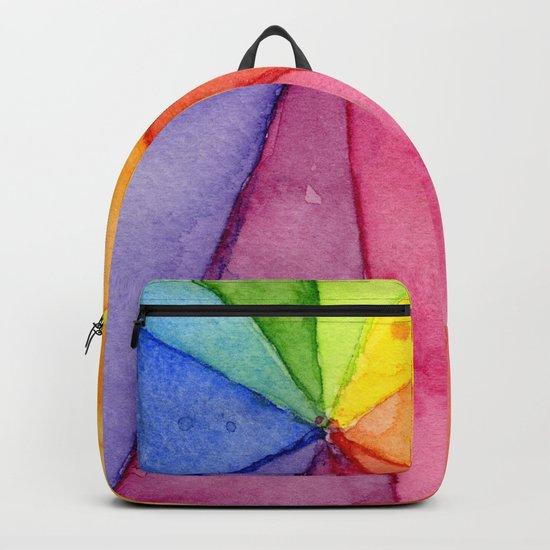 Rainbow Watercolor Geometric Pattern Backpack