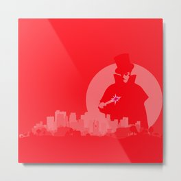 Jack The Ripper Red Background Metal Print