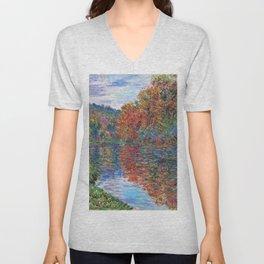Le bras de Jeufosse, Autumn by Claude Monet Unisex V-Neck
