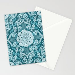 Centered Lace - Teal  Stationery Cards