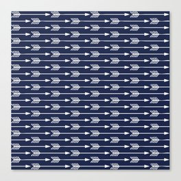 Navy Blue Arrows Pattern Canvas Print