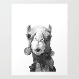 Black and White Camel Portrait Art Print
