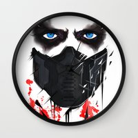 bucky Wall Clocks featuring Bucky Barnes by akaori_art