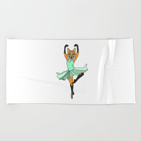 Fox Ballerina Tutu Beach Towel