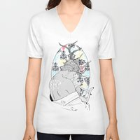 fawn V-neck T-shirts featuring Fawn by Cassandra Jean