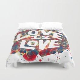 Love Is Love Rainbow Splatter Duvet Cover